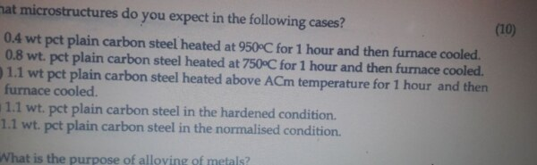 What microstructure do you expect in the following cases?