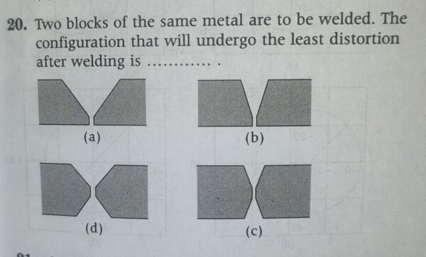 Two blocks of same metal are to be welded. The configuration that will undergo the least distortion after welding is….