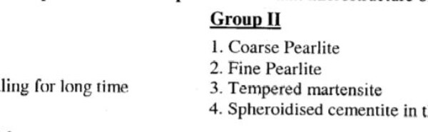GATE MT 2011 Q39. Match the heat treatment processes in group 1 with resultant microstructure of steel in group 2.
