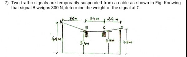 Two traffic signals are temporarily suspended from a cable as shown. Knowing that the signal at B weighs 400 N, determine the weight of the signal at C.